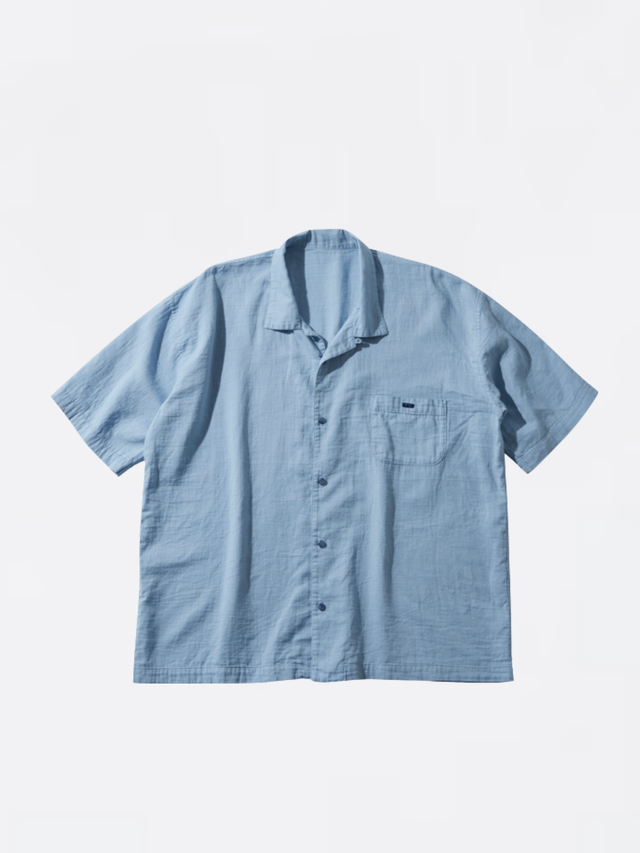 PORTER CLASSIC GAUZE SHORT SLEEVE SHIRT Blue PC-056-1571