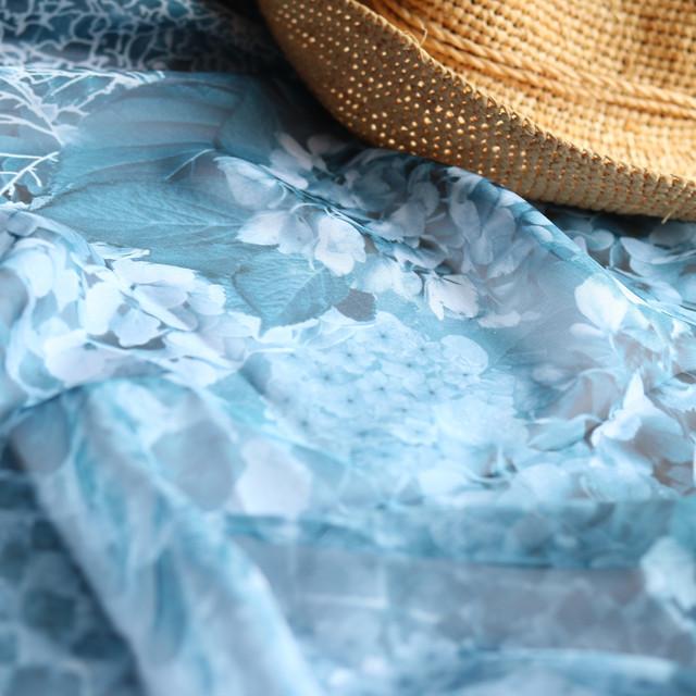 【シフォンスカーフ】水の器紫陽花浮かべて(ダークブルー)
