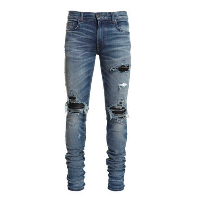 AMIRI MX1 Leather Patch Jeans  Medium Indigo