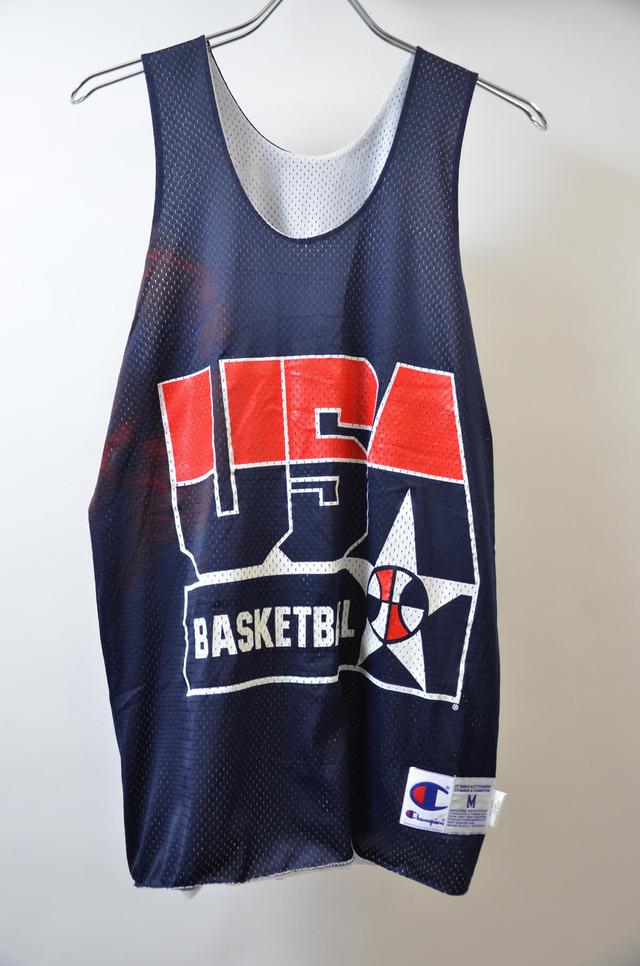 【Mサイズ】 CHAMPION チャンピオン USA BASKETBALL MESH TANKTOP ユーエスエー バスケジャージー NVY ネイビー 243308190302