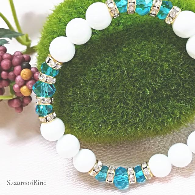 【ブレスレット】天然石デザインブレスレット-ホワイトオニキス(ブルー)-(bracelet-006)