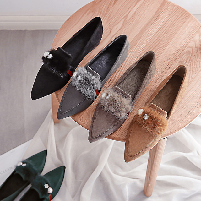 【shoes】韓国系通勤レトロ合わせやすいパール切り替え保暖シューズ