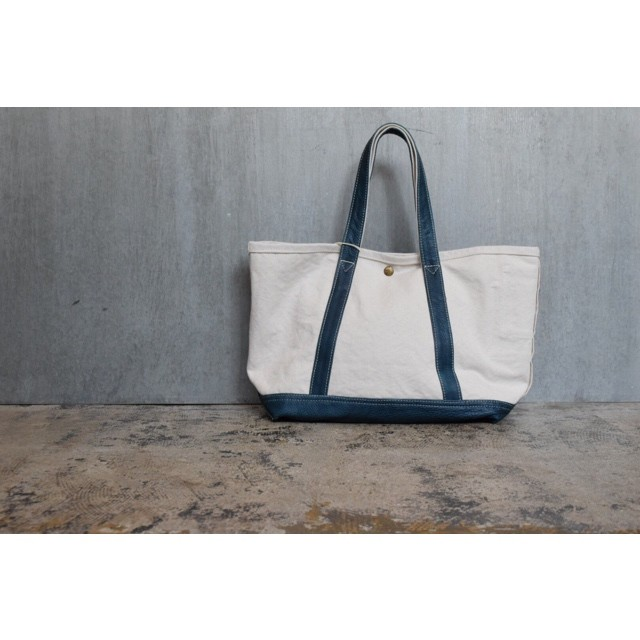 Simva 161-0032nat/blue Canvas/Leather Tote Bag Medium