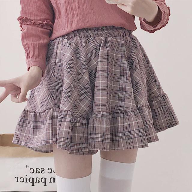 ギンガムチェックフリルスカート(ピンク / グレー)