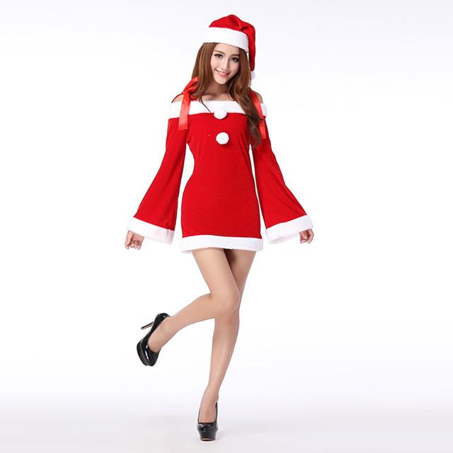 可愛い サンタコスチューム ワンピース サンタ帽子付き クリスマス サンタ衣装