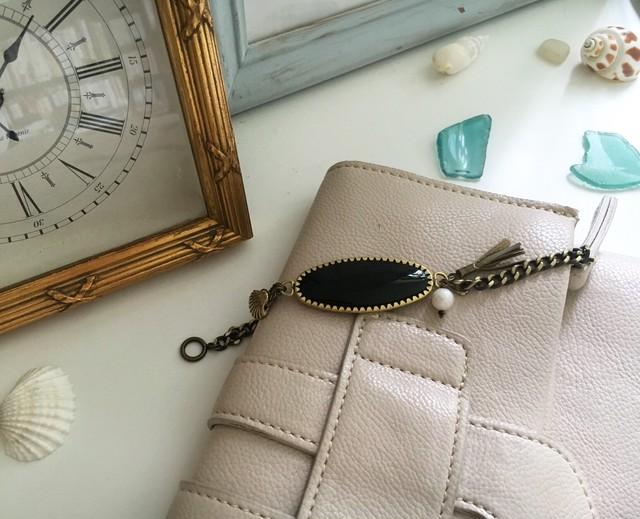 天然シェルとパールのブレスレット <gold & green> -Shell pearl Bracelet -