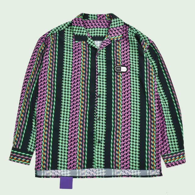 RUBBER CUPSULE MULTI GEOMETRIC OVERSIZED SHIRT GREEN/PINK