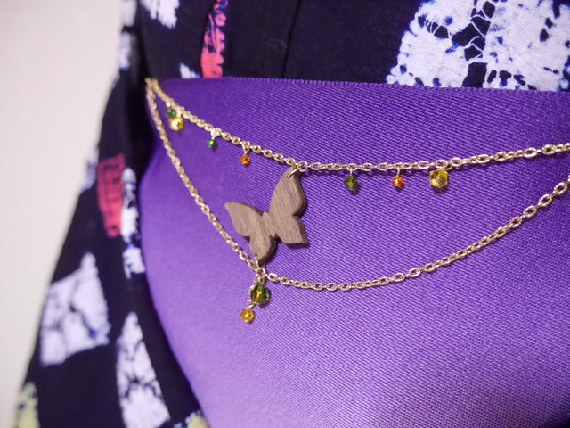 【Y-16】蝶の帯飾り(羽織紐)《蒼色×橙色×菜の花色》2WAY