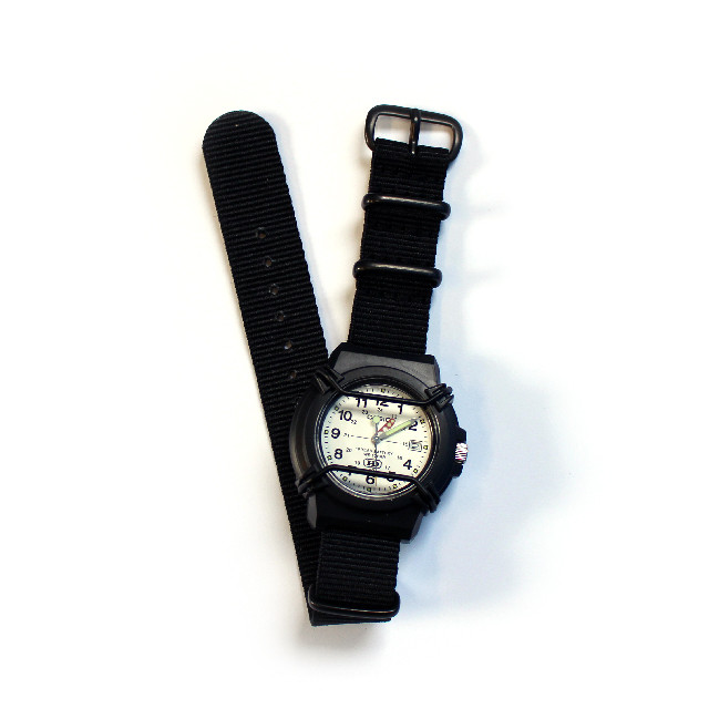 CASIO PROTECT WATCH / WHITE / NATO-type Black Strap