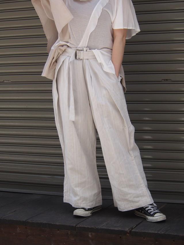 linen wrap&tuck pants