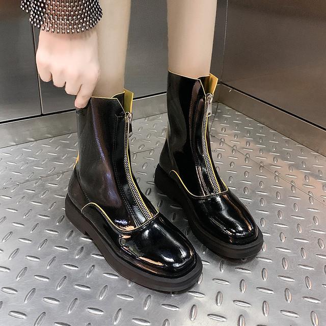 【shoes】PUカッコイイ切り替えファスナー飾りブーツ