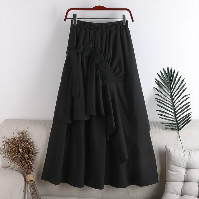 【スカート】フリルフレアー スカート・ブラック