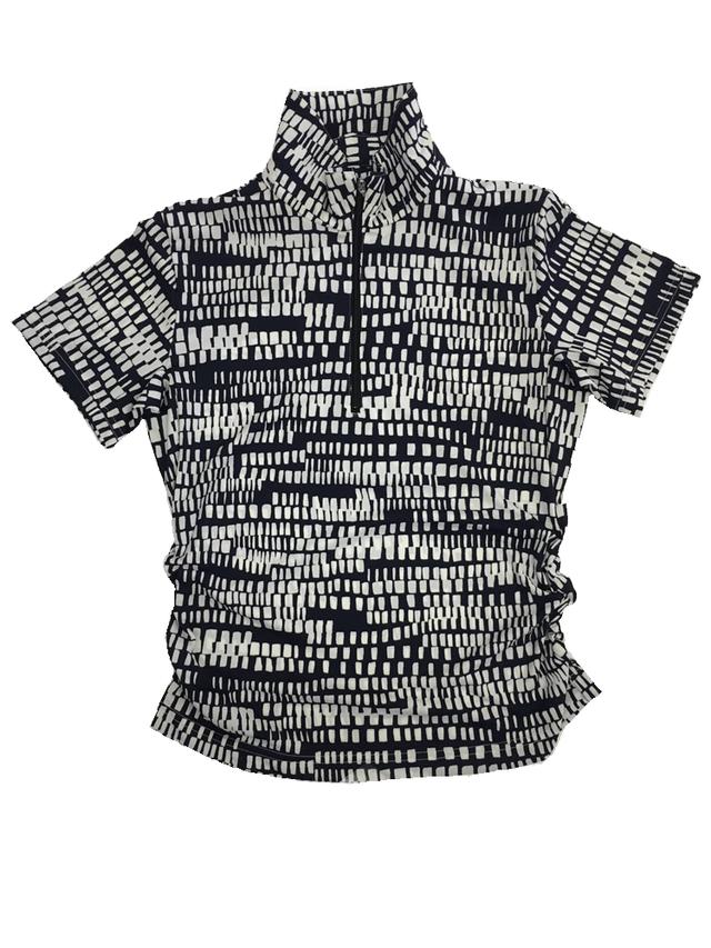 ゴルフプロ監修 四角ドットの変則ボーダーレディース半袖シャツ/白【日本製】18022
