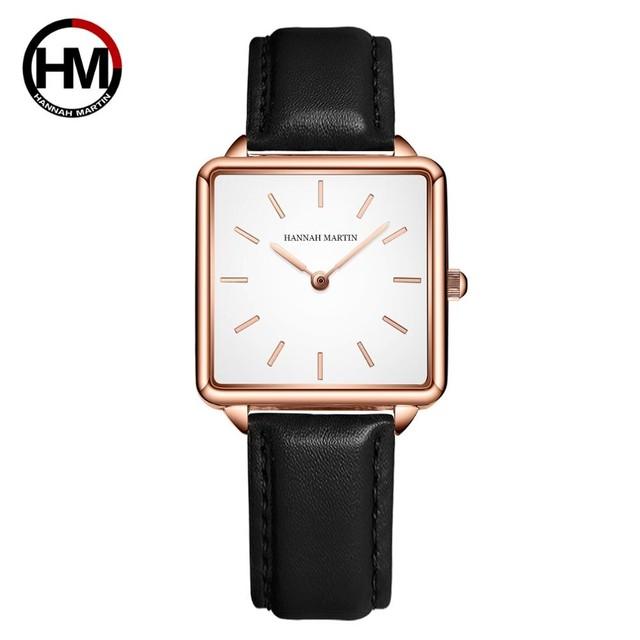 本革ストラップ日本クォーツムーブメントHM-108女性シンプルなデザインのトップの高級ブランド腕時計レディーススクエア腕時計108PH1