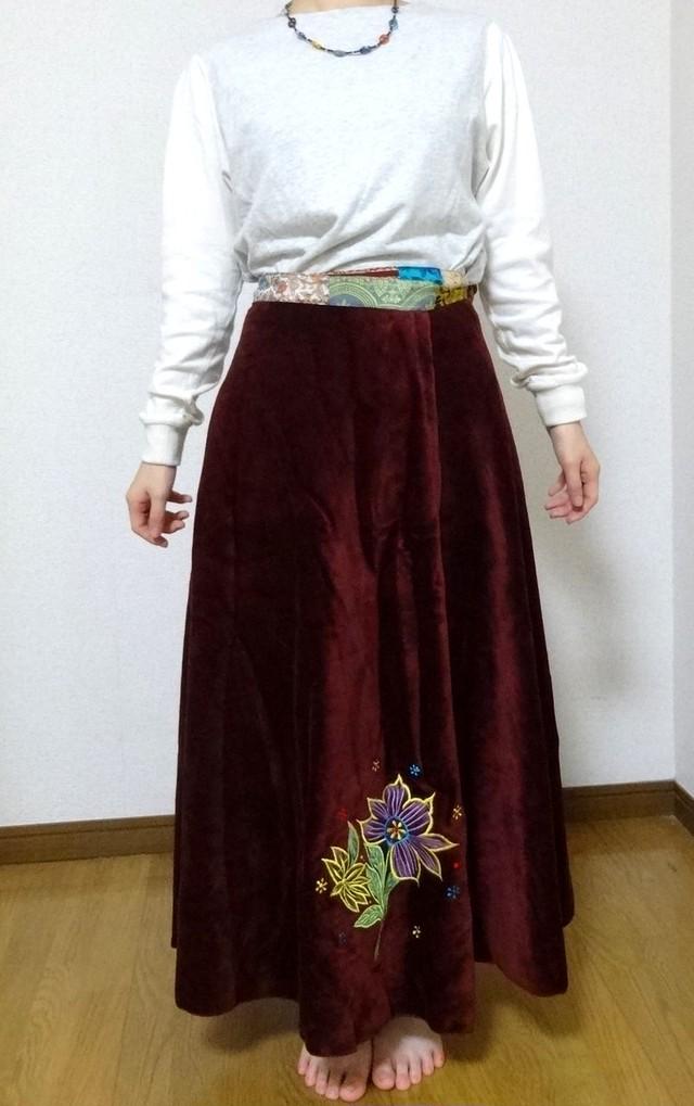 EMS-025MA ベルベット刺繍×シルク巻きスカート エンジ