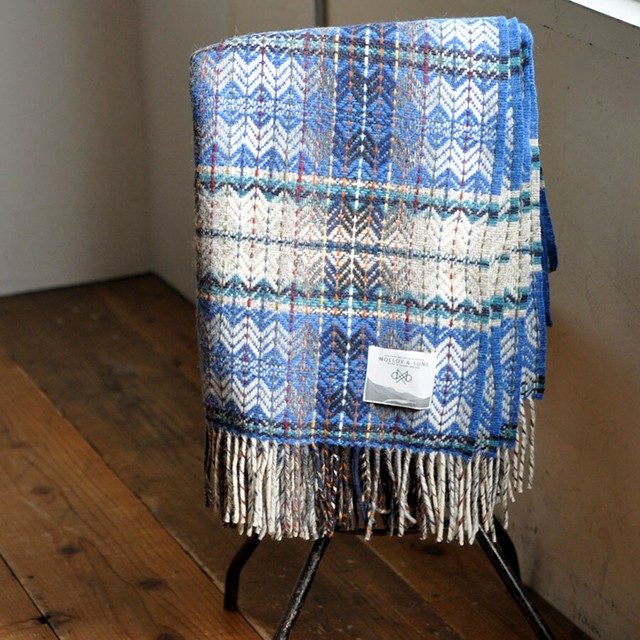 MOLLOY & SONS tweed blanket / Ireland  -blue-