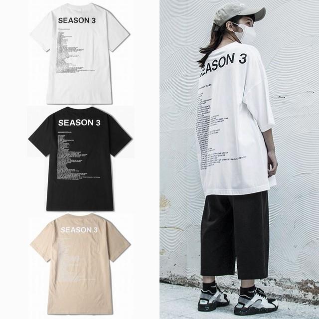 ユニセックス Tシャツ 半袖 メンズ レディース ラウンドネック 英字 バックプリント オーバーサイズ 大きいサイズ ルーズ ストリート TBN-545262504992