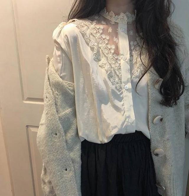 ブラウス トップス シースルー 花柄 レース セクシー 長袖 フェミニン 上品 韓国 オルチャン ファッション