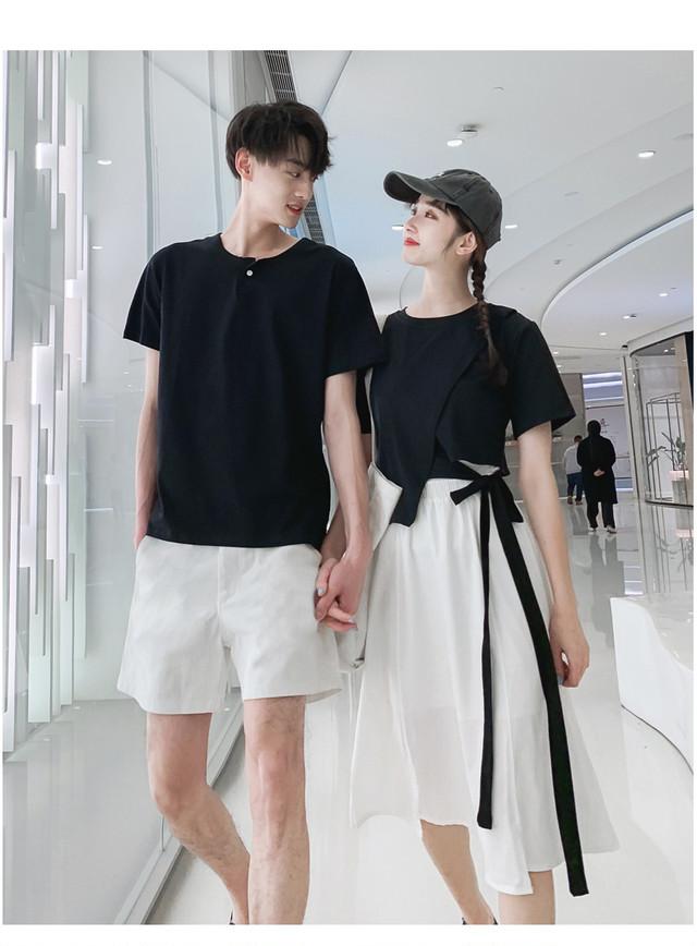 ウエスト リボン Tシャツ 0735 スカート メンズハーフパンツ カップル ペアルック リンクコーデ カジュアル お揃い デート