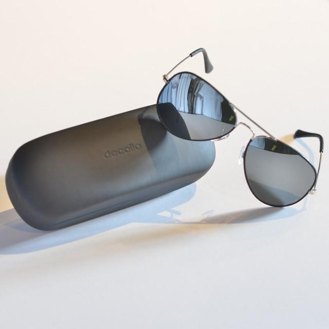 DLA-J04 decollouomo フルミラーパイロットサングラス ミラーガラス/ブラックレザー