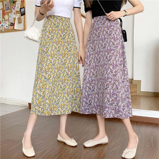 フラワープリントスカート | 花柄 Aラインスカート ロングスカート