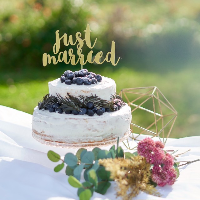 Just Married ケーキトッパー 結婚式 ウエディング 飾り付け フォトプロップス