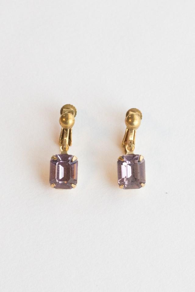 【TAMARI】-ACCIDENT 別注- Drop antique Czech glass pierce & earring(Lilac)