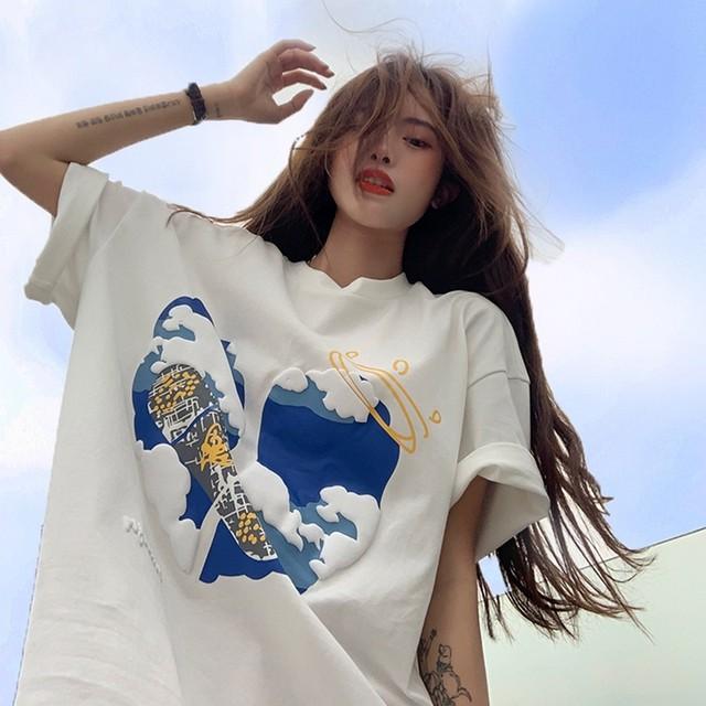 【トップス】凸版図柄韓国系半袖ストリート系カジュアルTシャツ43653651