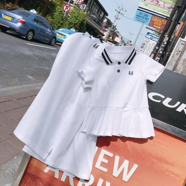 親子着ベビーサマー21ポロシャツ3人家族母娘母子半袖Tドレス流行 夏物 上上家原创亲子装 上上家原创亲子装16709373220