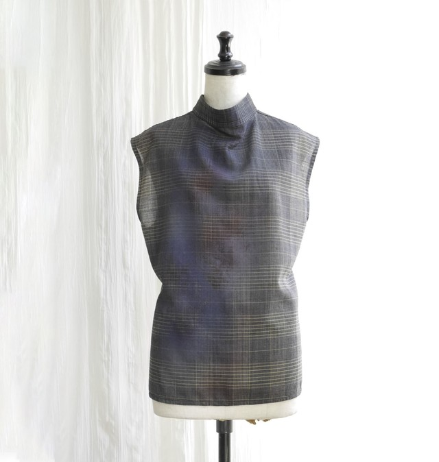CAMOFLAGE PAINT CHECKED BLOUSE / GRAY CHECK