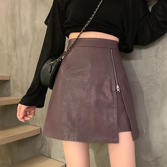 【送料無料】女っぽ♪エコレザージップスカート♡スカート 女っぽ エコレザー ハイウエスト スタイルアップ ジップ