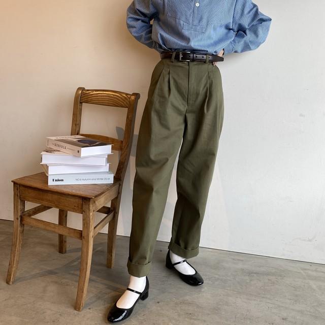 high waist tuck chino 【カーキ】