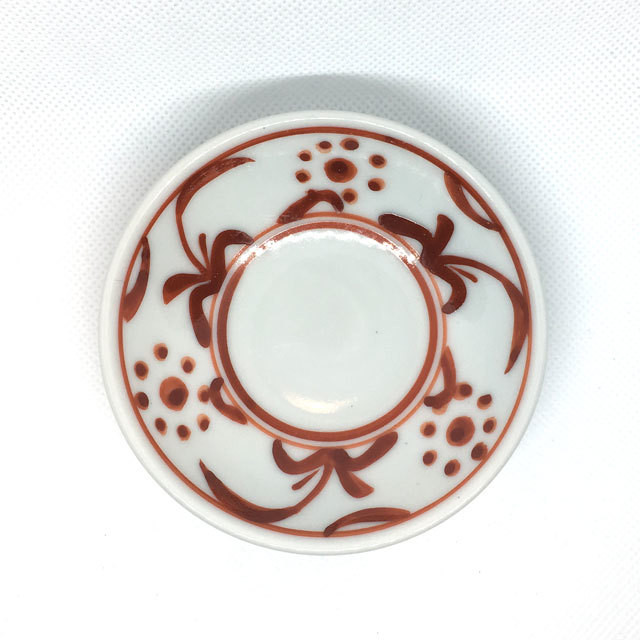 【砥部焼/梅山窯】3寸小皿(赤菊)