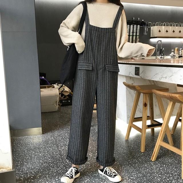 【bottoms】ルーズ着痩せワイドパンツストライプファッションサロペット