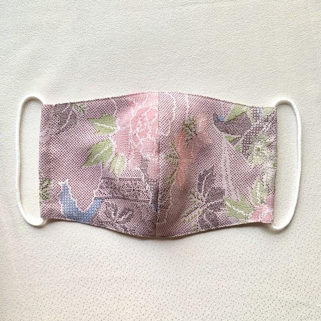 絹マスク 牡丹・桐文様 小紋 薄紫色