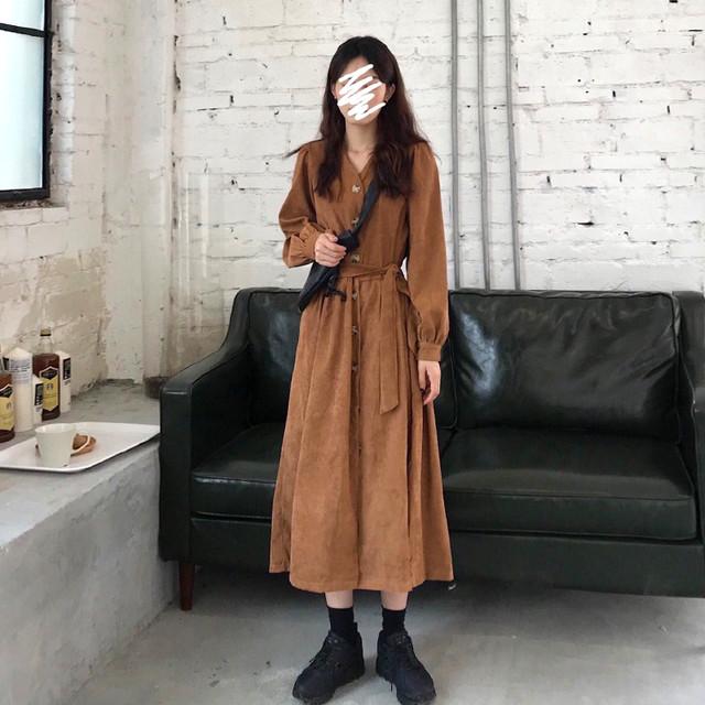 コーデュロイ ワンピース 韓国 韓国ファッション SHD350901