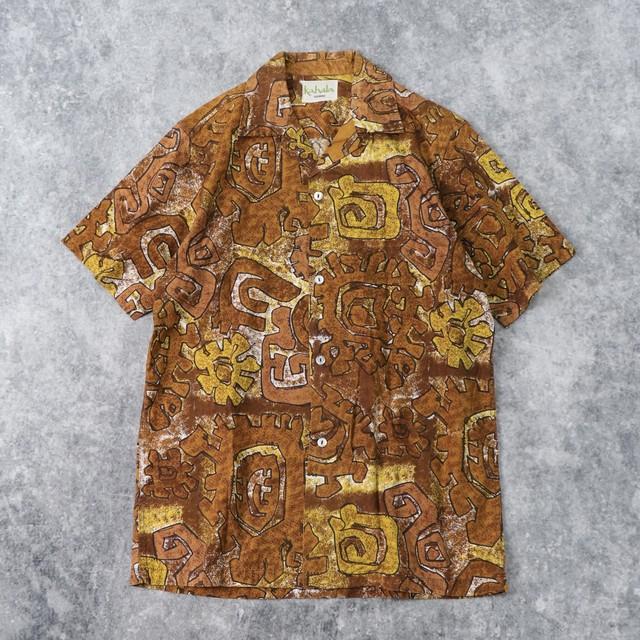 """70年代 """" kahara """" カハラ コットンアロハシャツ M 古着 A882"""