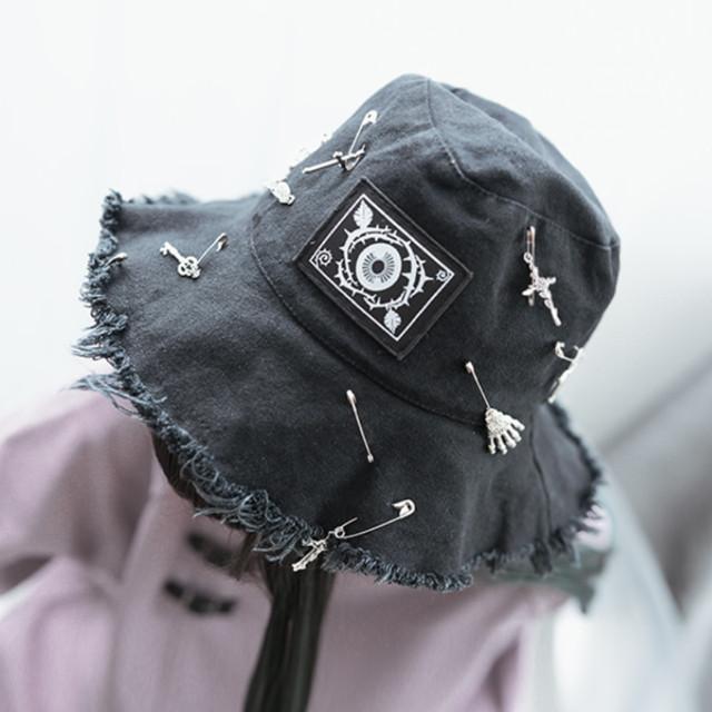 【眼球蔷薇シリーズ】帽子 ぼうし チャイナ風 ブラック 黒い 可愛い 合わせやすい 原宿風 個性的