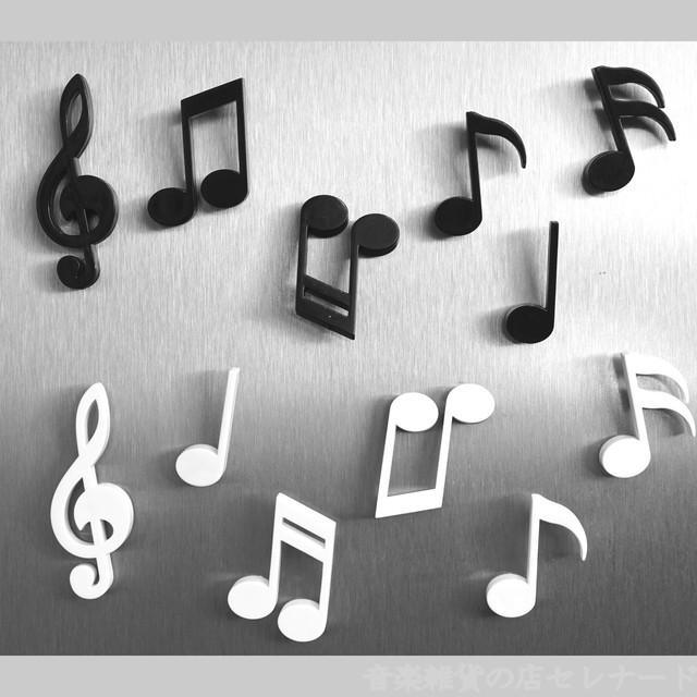 音符・ト音記号のマグネット(6個セット) MEMODY  ブラック/ホワイト