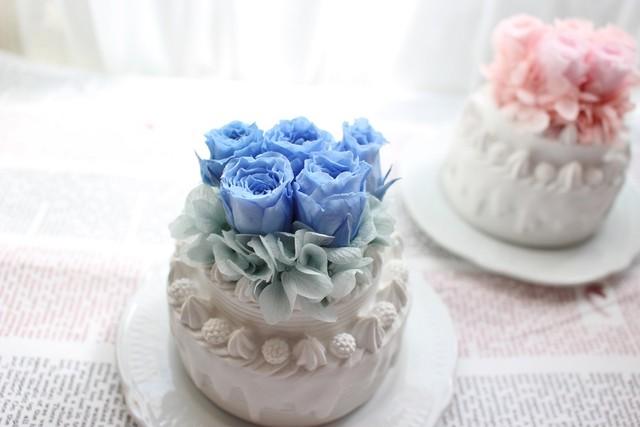フラワーホールケーキ★ブルー★