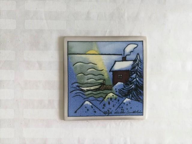 陶板 / アラビア ヴィンテージ /冬のコテージ畔 / ヘルヤ (個装箱入り)