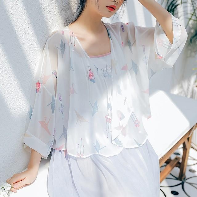 人気 夏物 カーディガン ボレロ 羽織り シフォン ゆったり きれいめ カジュアル 上品 レトロ プリント
