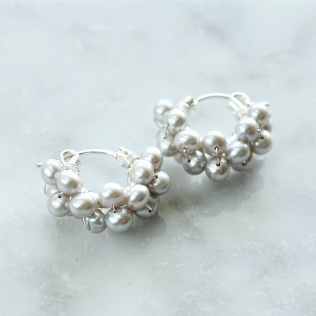 送料無料14kgf*Freshwater pearls wrapped pierced earring SIL 4mm