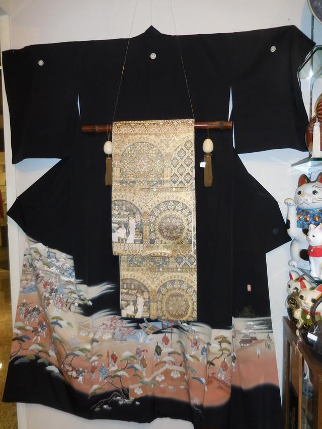 十日町紬単衣着物 Tokamachi silk and pongee Kimono