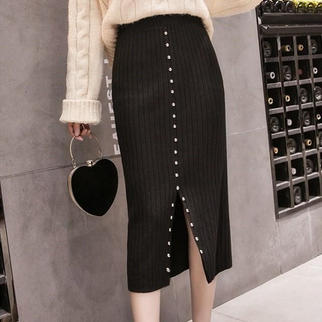 【bottoms】リベット飾りスリットタイトスカート