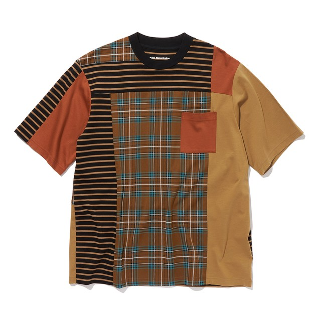 CHECK CONTRASTED T-SHIRT -BROWN