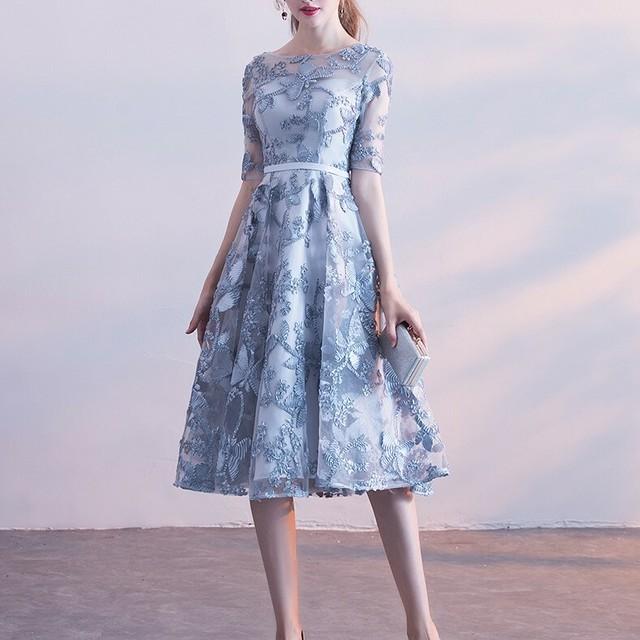 予約 2色 オーガンジー フラワー刺繍 パーティ―ドレス お呼ばれワンピース 結婚式 二次会 同窓会