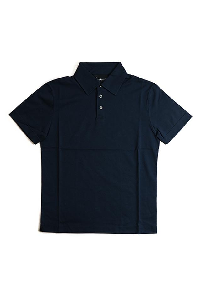 《Made in France》オリジナル 半袖 ジャージポロシャツ 3つ釦 〈ネイビー〉