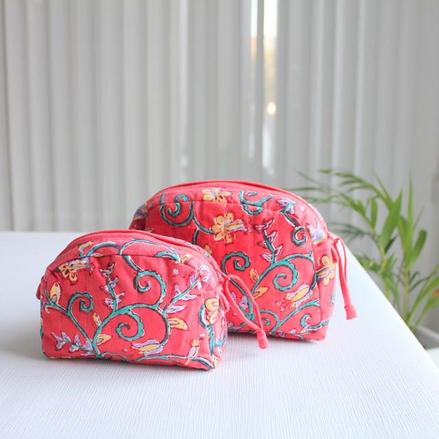 ブロックプリント バッグ 大きめ レッド 【フェアトレード商品】