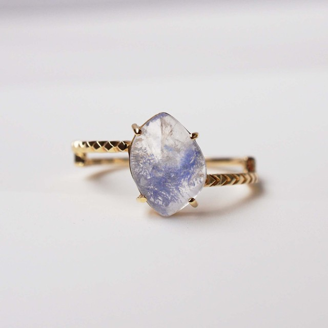 Dumortierite in Quartz Ring